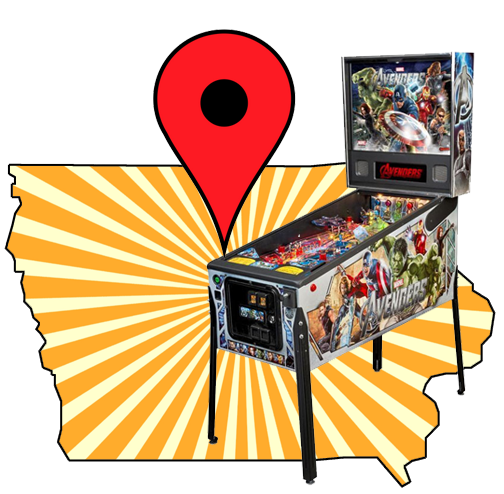 Find a pinball machine to play on location in Iowa. IA arcade game locator.